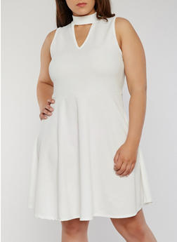 Plus Size Keyhole Choker Skater Dress - IVORY - 8475072248913