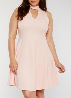 Plus Size Keyhole Choker Skater Dress - 8475072248913