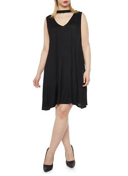 Plus Size Sleeveless Keyhole Shift Dress - BLACK - 8475073702420