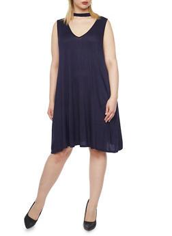 Plus Size Sleeveless Keyhole Shift Dress - 8475073702420