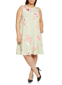 Plus Size Scoop Neck Floral Trapeze Dress - 8476020622252