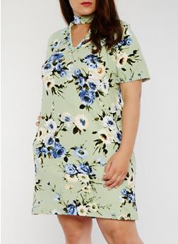 Plus Size Floral T Shirt Dress with Keyhole Choker Neck - 8476020623156