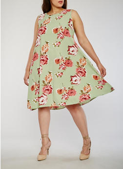 Plus Size Sleeveless Floral Swing Dress - 8476020624452