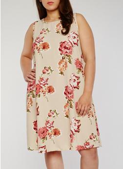 Plus Size Sleeveless Floral Swing Dress - 8476020624452