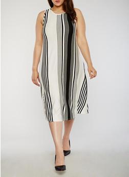 Plus Size Sleeveless Striped Swing Dress - 8476020624525