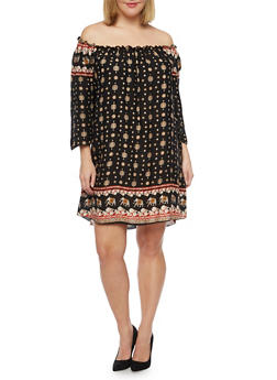 Plus Size Off The Shoulder Dress in Elephant Print - 8476020624563
