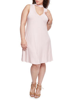 Plus Size Striped Swing Dress with Keyhole Choker - BLUSH - 8476020624756