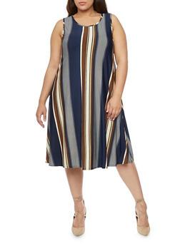 Plus Size Mid Length Striped Trapeze Dress - 8476020625217