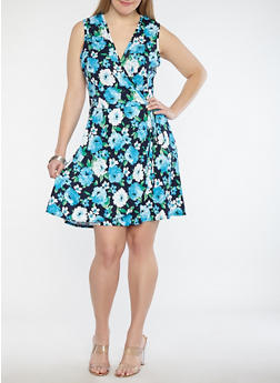 Plus Size Floral Faux Wrap Skater Dress - 8476020625311