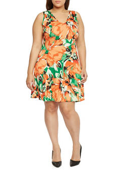 Plus Size Floral Print V Neck Skater Dress - 8476020625692