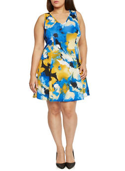 Plus Size Floral Print V Neck Skater Dress - 8476020625692