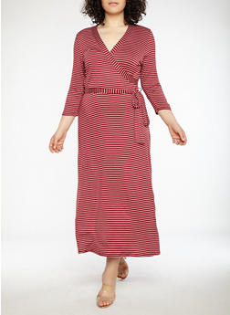 Plus Size Striped Faux Wrap Maxi Dress - 8476020626056