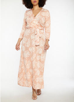 Plus Size Faux Wrap Floral Print Maxi Dress - 8476020626088