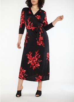 Plus Size Faux Wrap Floral Maxi Dress - 8476020626206