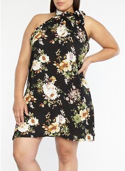 Plus Size Floral Print Tie Neck Shift Dress - 8476020626282