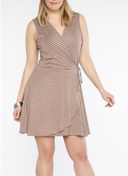 Plus Size Striped Faux Wrap Dress - 8476020626311