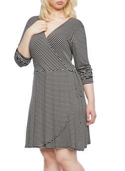 Plus Size Striped Wrap Front Dress With Side Tie,BLACK/WHITE,medium