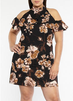 Plus Size Floral Print Shift Dress - 8476020626801