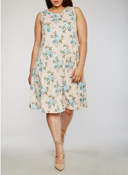 Plus Size Sleeveless Floral Trapeze Dress - 8476020627445