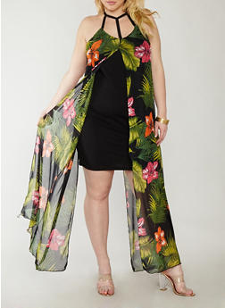 Plus Size Dress with Floral Print Maxi Overlay - 8476020627562