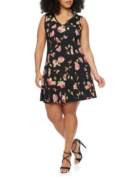 Plus Size Floral V Neck Skater Dress - 8476020627652