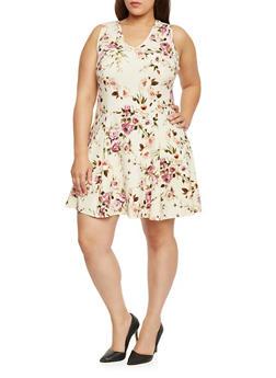 Plus Size Floral V Neck Skater Dress - 8476020627652