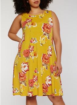 Plus Size Sleeveless Floral Shift Dress - 8476020628744