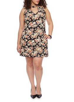 Plus Size Floral Keyhole Shift Dress - 8476020629978