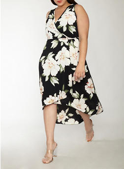 Plus Size Floral Crepe Knit Wrap Dress - 8476054263221