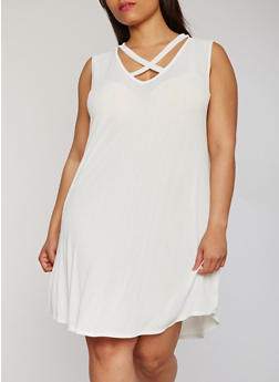 Plus Size Sleeveless Caged V Neck Dress - IVORY - 8476054263478