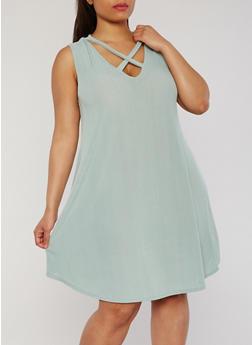 Plus Size Sleeveless Caged V Neck Dress - 8476054263478