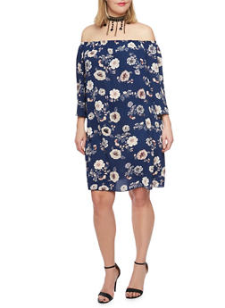 Plus Size Off the Shoulder Floral Dress with Choker - 8476054264628