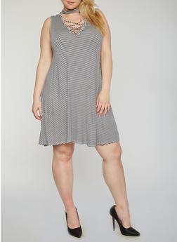 Plus Size Striped Sleeveless Caged Choker Dress - 8476054264790