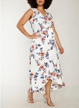 Plus Size Faux Wrap Floral Print Dress - 8476054265323
