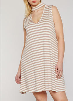 Plus Size Striped Keyhole Choker Dress - 8476054267911