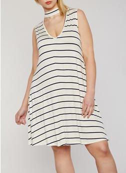 Plus Size Sleeveless Striped Choker Trapeze Dress - 8476054267912