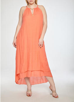 Plus Size Hi Low Dress with Metallic Collar Detail - 8476056124024