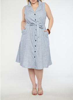Plus Size Striped Button Front Dress - 8476056125581