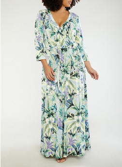 Plus Size Faux Wrap Printed Maxi Dress - 8476056127508