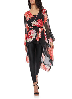 Floral Bell Sleeve High Low Maxi Top - 8476056127597