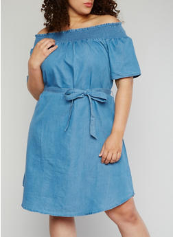 Plus Size Smocked Off the Shoulder Chambray Dress with Sash Belt - 8476056128409