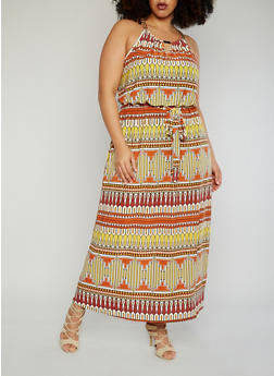 Plus Size Belted Aztec Maxi Dress with Chainlink Collar - 8476056128412