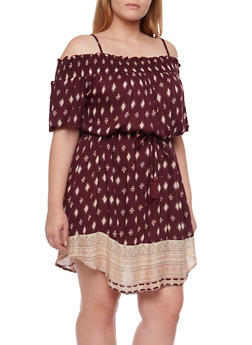 Plus Size Off the Shoulder Border Print Dress - 8476068708857