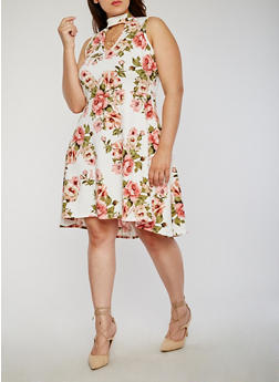 Plus Size Floral Keyhole Choker Dress with Necklace - 8476072240500
