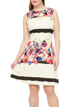 Plus Size Cutout Fit And Flare Dress With Floral Stripe Print,IVORY,medium
