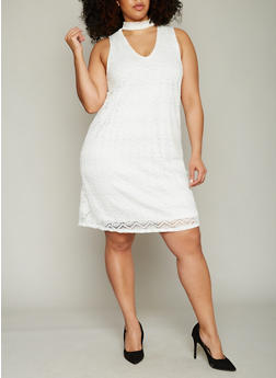 Plus Size Sleeveless Lace Choker A Line Dress - IVORY - 8476073556685