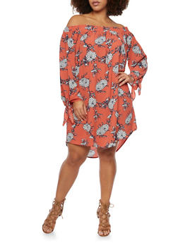 Plus Size Off the Shoulder Dress in Floral Print - 8476073557160