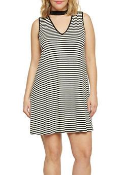 Plus Size Striped Keyhole Dress - 8476073702423