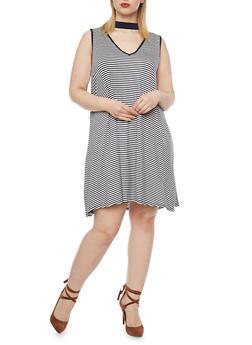 Plus Size Striped Keyhole Dress - OFF WHITE/NAVY - 8476073702423