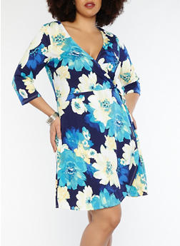 Plus Size Navy Faux Wrap Floral Dress - 8476074011582